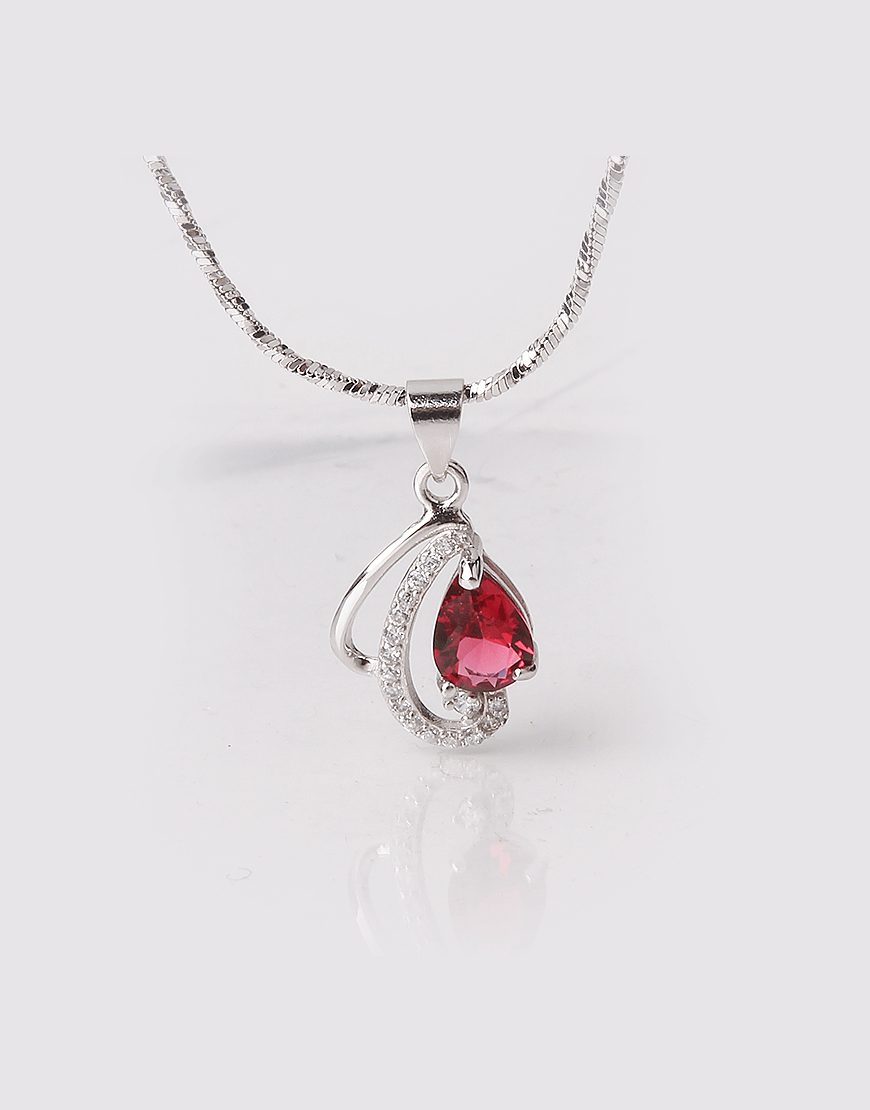 Enchanted Rose Pink Drop Pendant, Sterling Silver