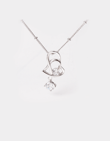 Never ending Intertwined Heart Crystal Pendant Necklace, sterling silver chain