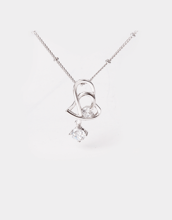 Intertwined Heart Crystal Pendant Necklace, sterling silver chain