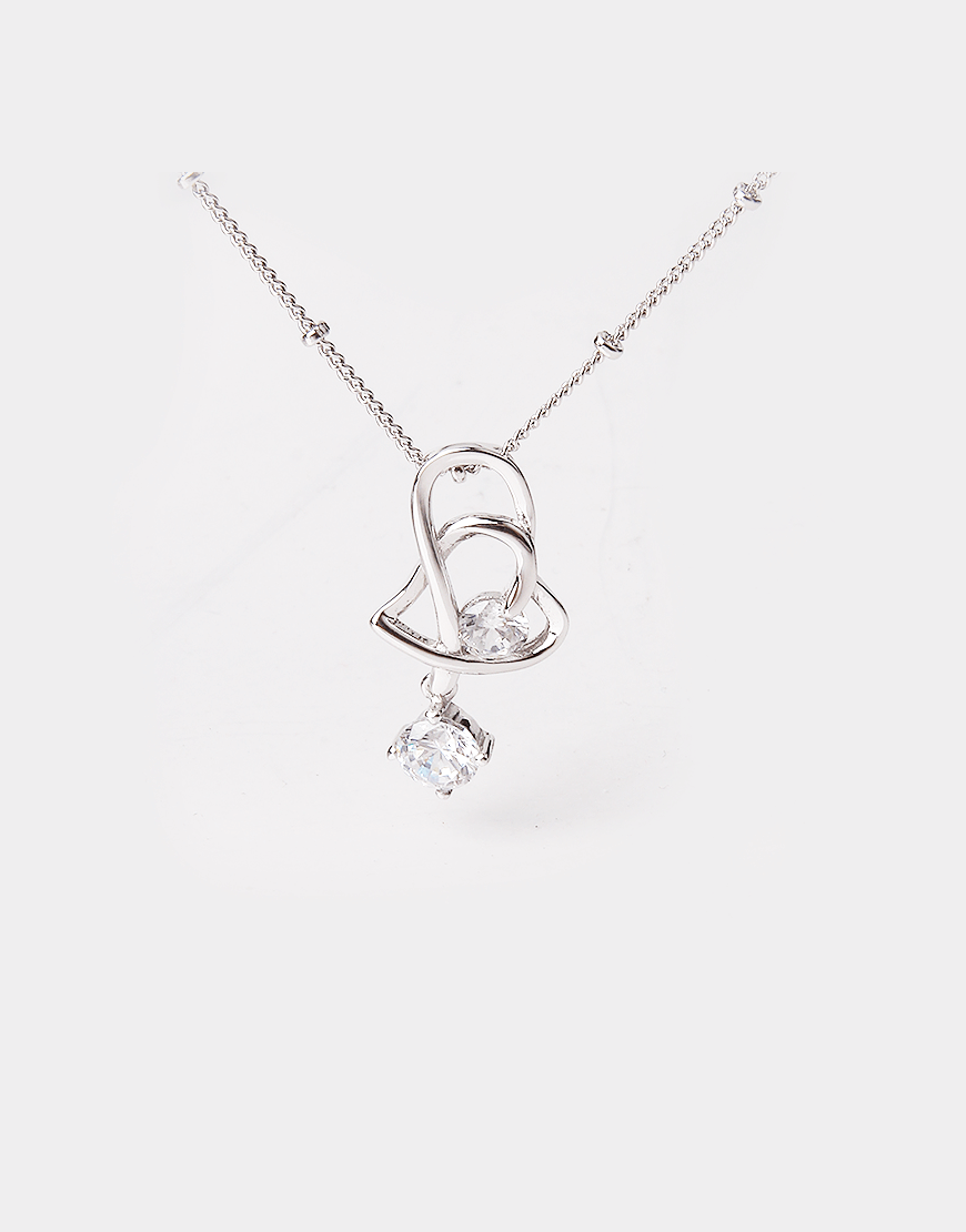Intertwined Heart Crystal Pendant Necklace