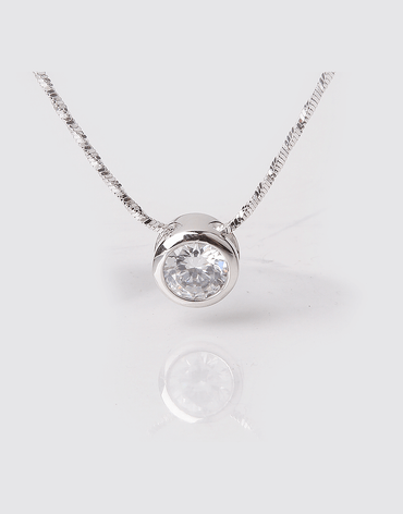 Tiny Dot Crystal Pendant Necklace, Sterling Silver Plating