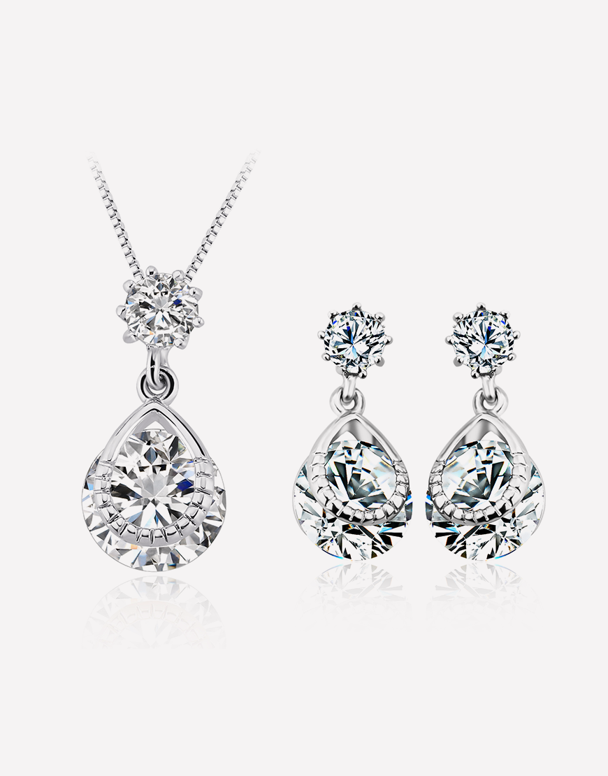 Tear-Drop Crystal Necklace and Crystal Earrings Set