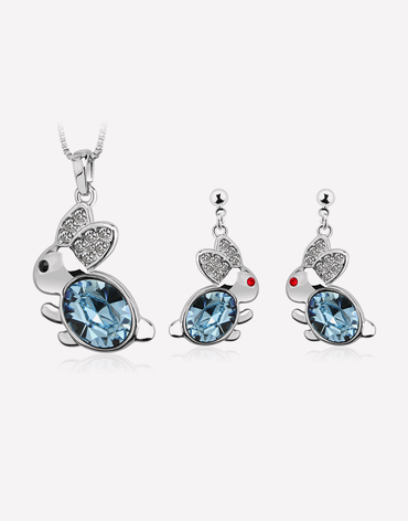 Bunny Rabbit Jewelry Set, Sterling Silver Plating