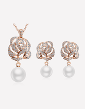 Pearl Flower Drop Crystal Jewelry Set