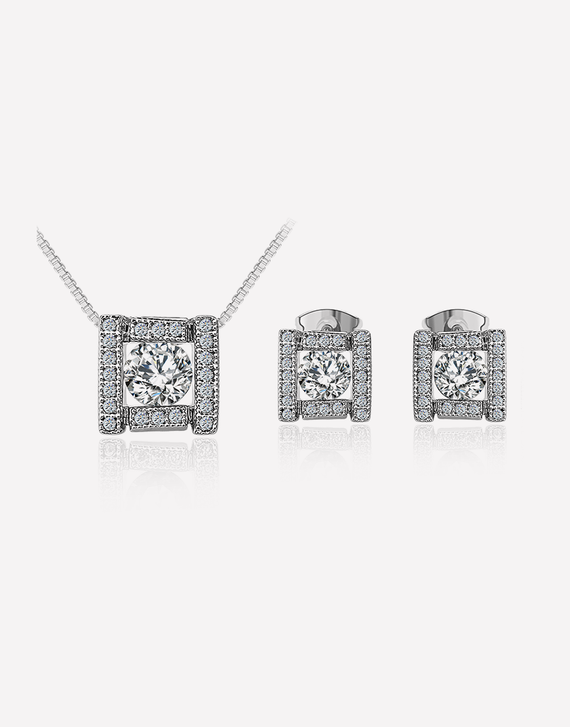 Square Shape Crystal Jewelry Set