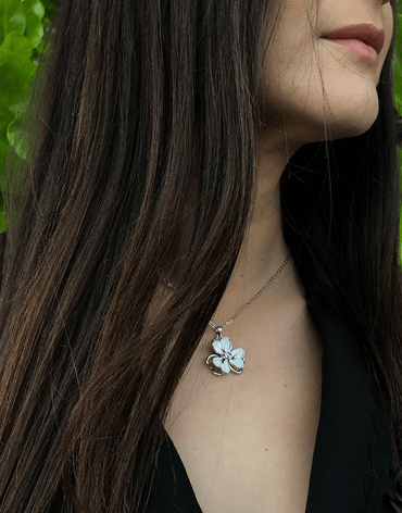 Oflara Flower Crystal Necklace Made with Austrian Crystals (Real Look)