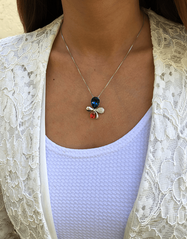 Oflara Plochrome  Crystal Flower Necklace (Real Look)