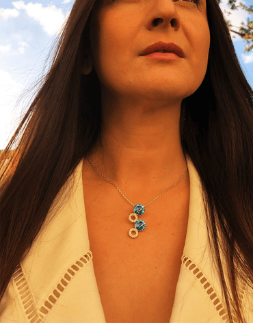 Oflara Layered Blue Crystal Necklace (Real Look)