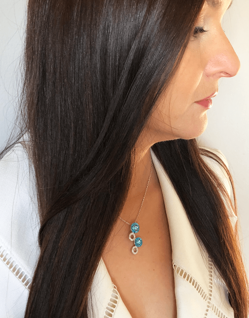 Oflara Layered Blue Crystal Necklace (Real Look 2)