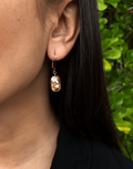 Oflara Champagn Stone Drop Crystal Earrings (Real Look)