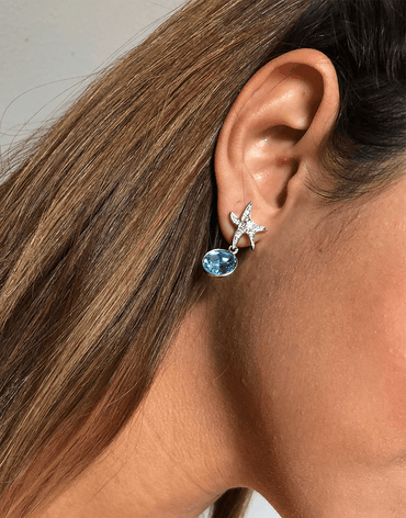 Oflara Oceanblue  Starfish Crystal Dangle Earrings (Real Look)