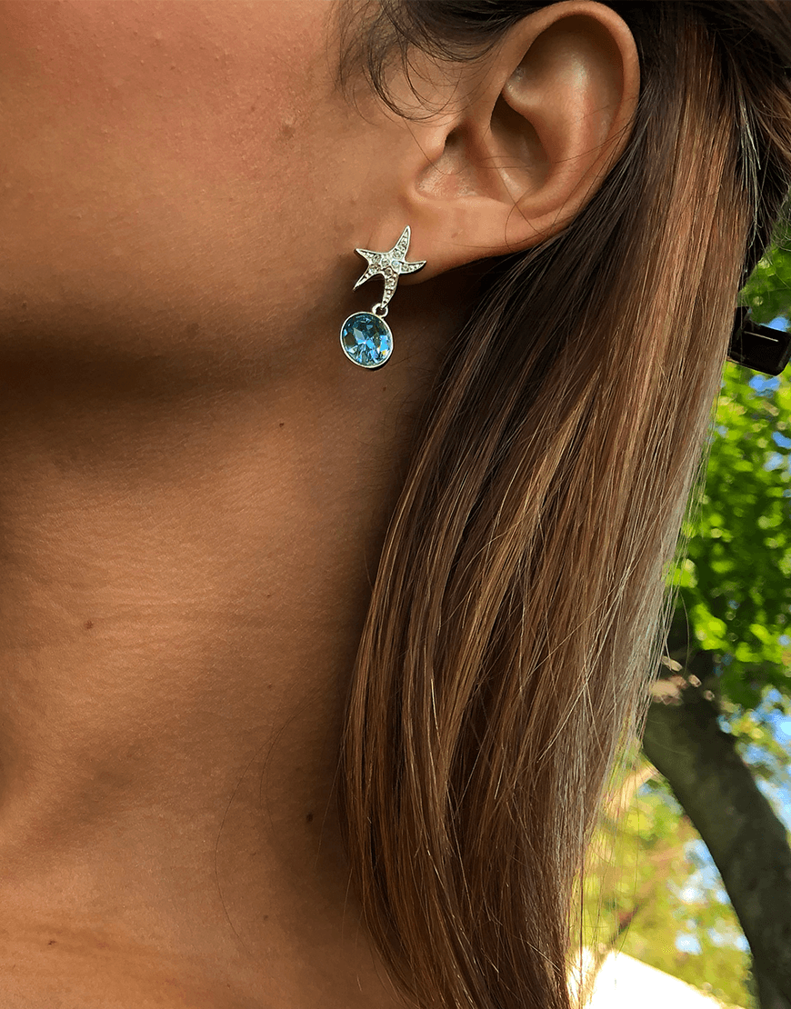 Oflara Oceanblue  Starfish Crystal Dangle Earrings (Real Look 2)