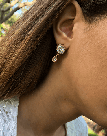 Oflara Crystal Peacock Earrings (Real Look)