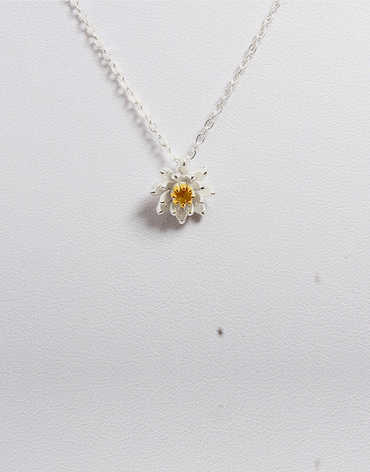 White Sunflower Pendant Necklace