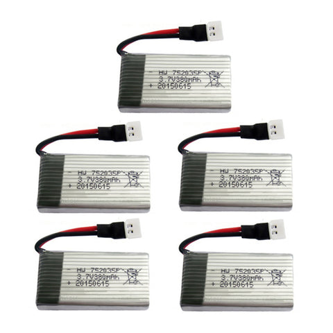 5Pcs Upgraded 25C 3.7V 380mAh Lipo Battery 3.7 Lipo For  Hubsan X4 H107 - Shotisfy