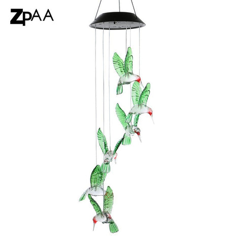 Outdoor LED Solar Lamp Hummingbirds dragonfly Wind Home Garden Decor Solar Light Solar Powered Color-Changing Wind Chime Light - Shotisfy