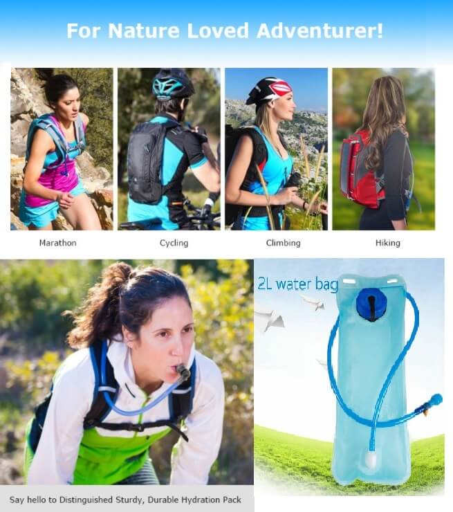 2L Portable Bicycle Mouth Water Bladder Bag