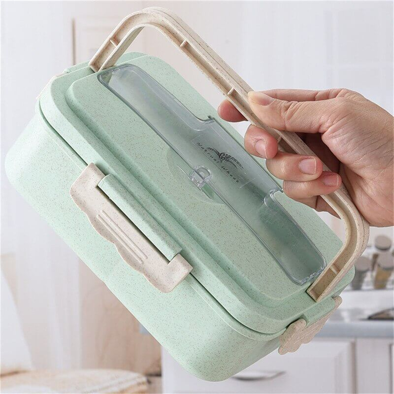 Wheat Straw Lunch Box w/ Handle and Spoon