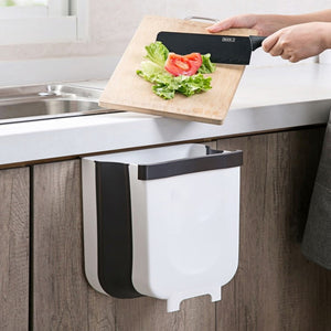 Collapsible Kitchen Waste Bin - 2 Pcs (Brown & White)