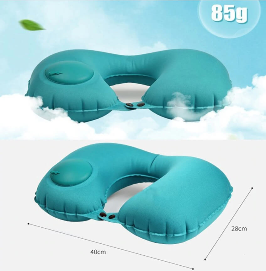 Press Inflatable U-shaped Travel Pillow