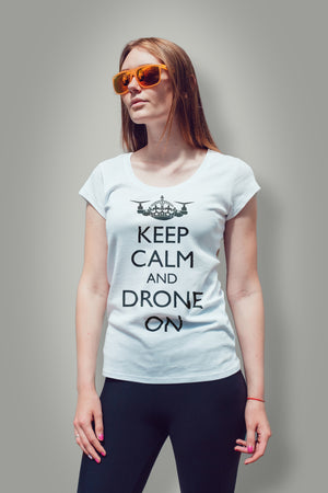 Keep Calm and Drone On Black Label|Women's T-Shirt| SkyUp™
