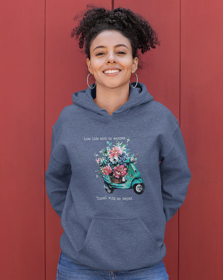 Hoodie Women Funny Life black white sport grey dark heather navy light pink light blue maroon red indigo blue