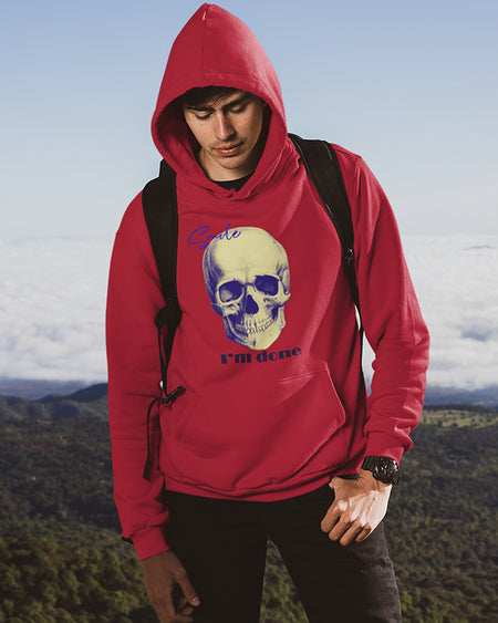 Hoodie Skull I'm done for men unisex black white sport grey dark heather navy light pink light blue maroon red indigo blue irish green