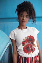 tshirt women flowers White forest green navy purple cobalt sport grey blue coral silk sapphire ash daisy cherry red  light pink red azalea