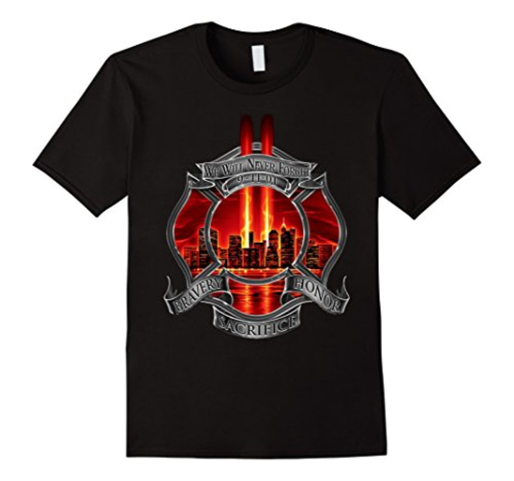 9/11 memorial never forget patriot day t-shirt firefighter