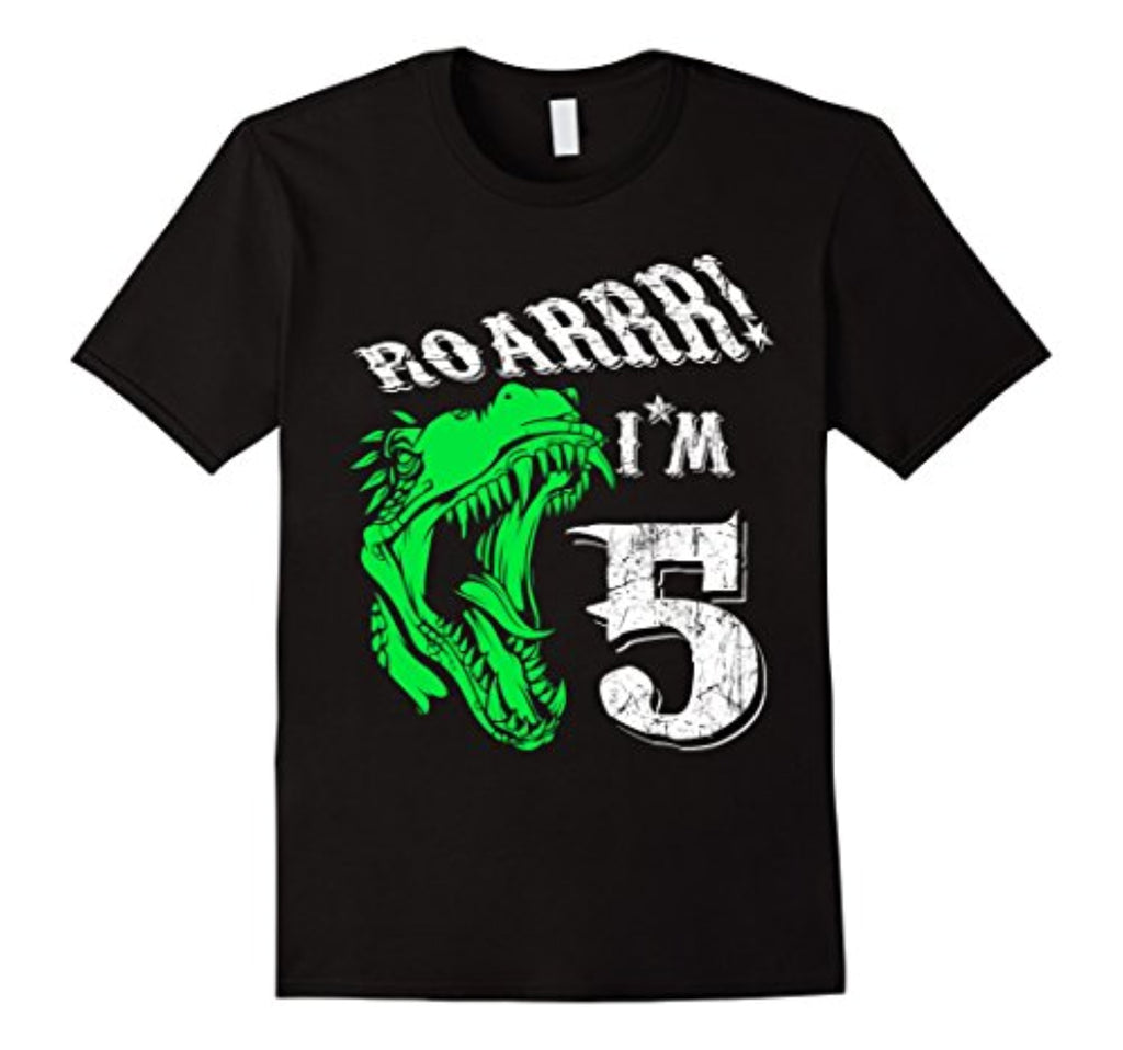 5 years old 5th birthday t-shirt - dinosaur tee gift for boy