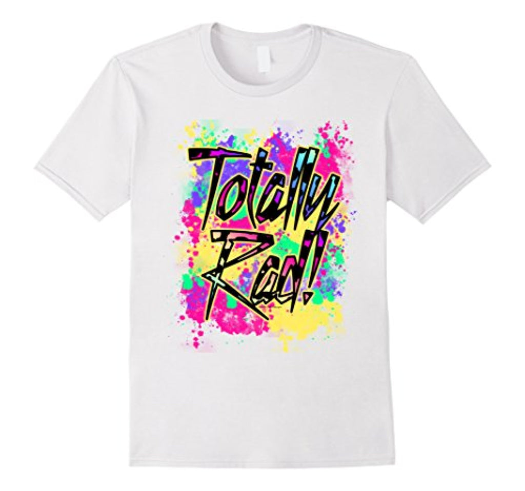 totally rad 80s paint splash color run 1980s party t-shirt