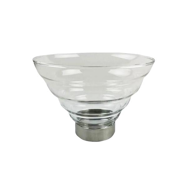 1.6L Glass Salad Bowl with Protective Stainless Steel Ring