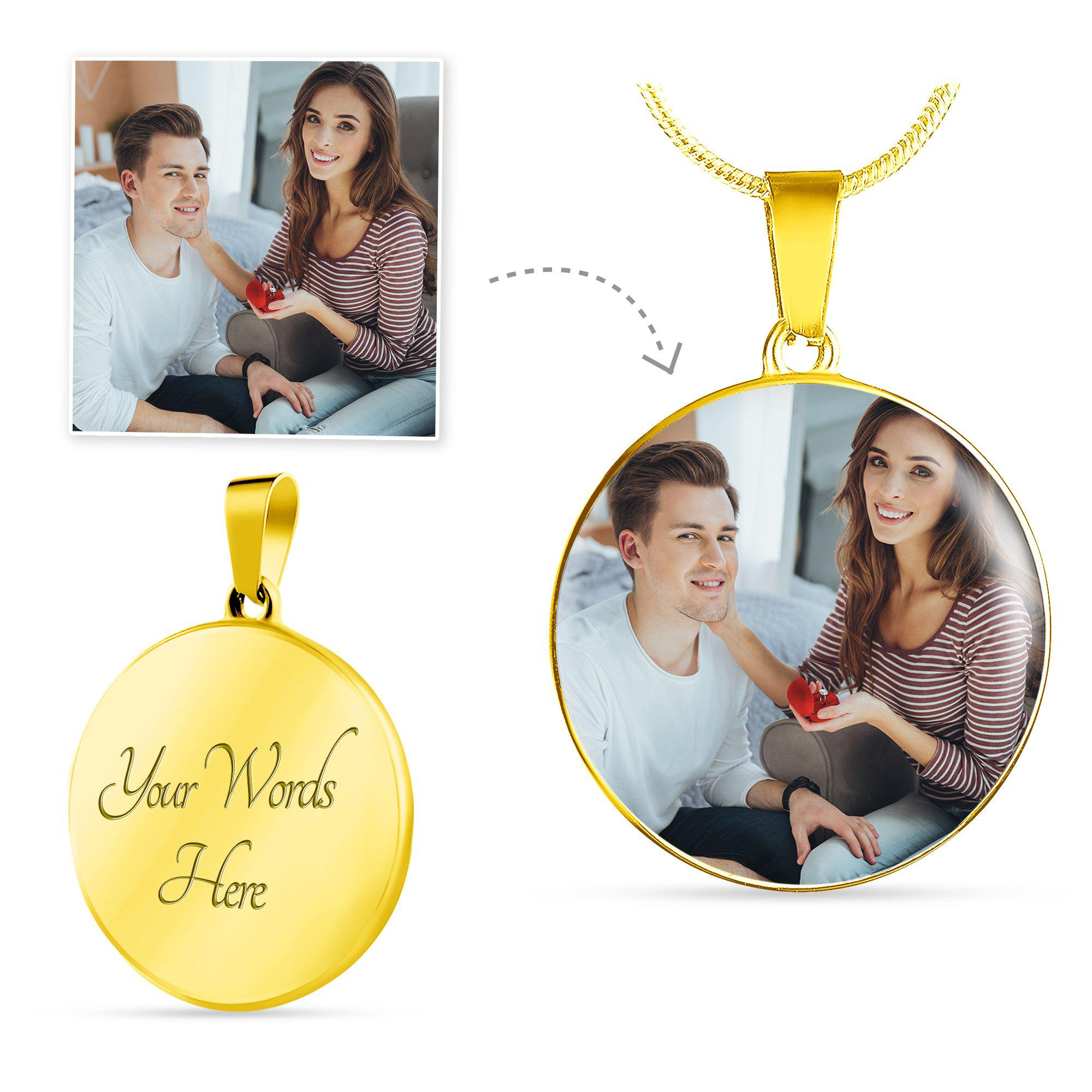 Put Your Loved One Photos Close To Your Heart Personalised Photo Upload (Gold Round Pendant)