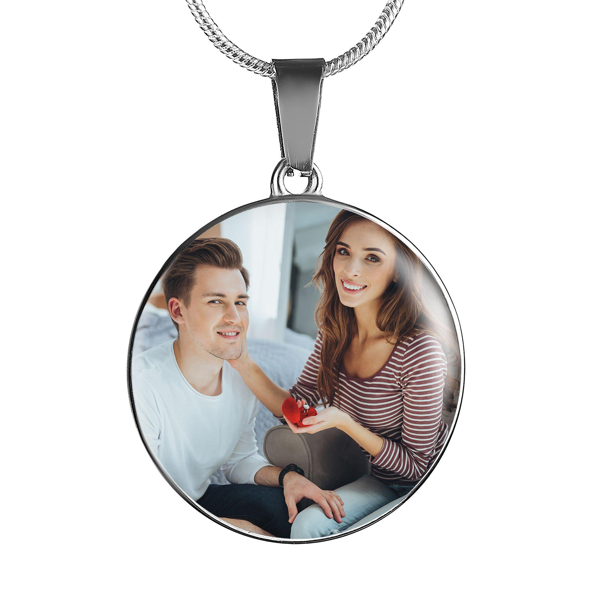 Put Your Engagement Moments Close To Your Heart - Personalised Photo Upload (Round Pendant)