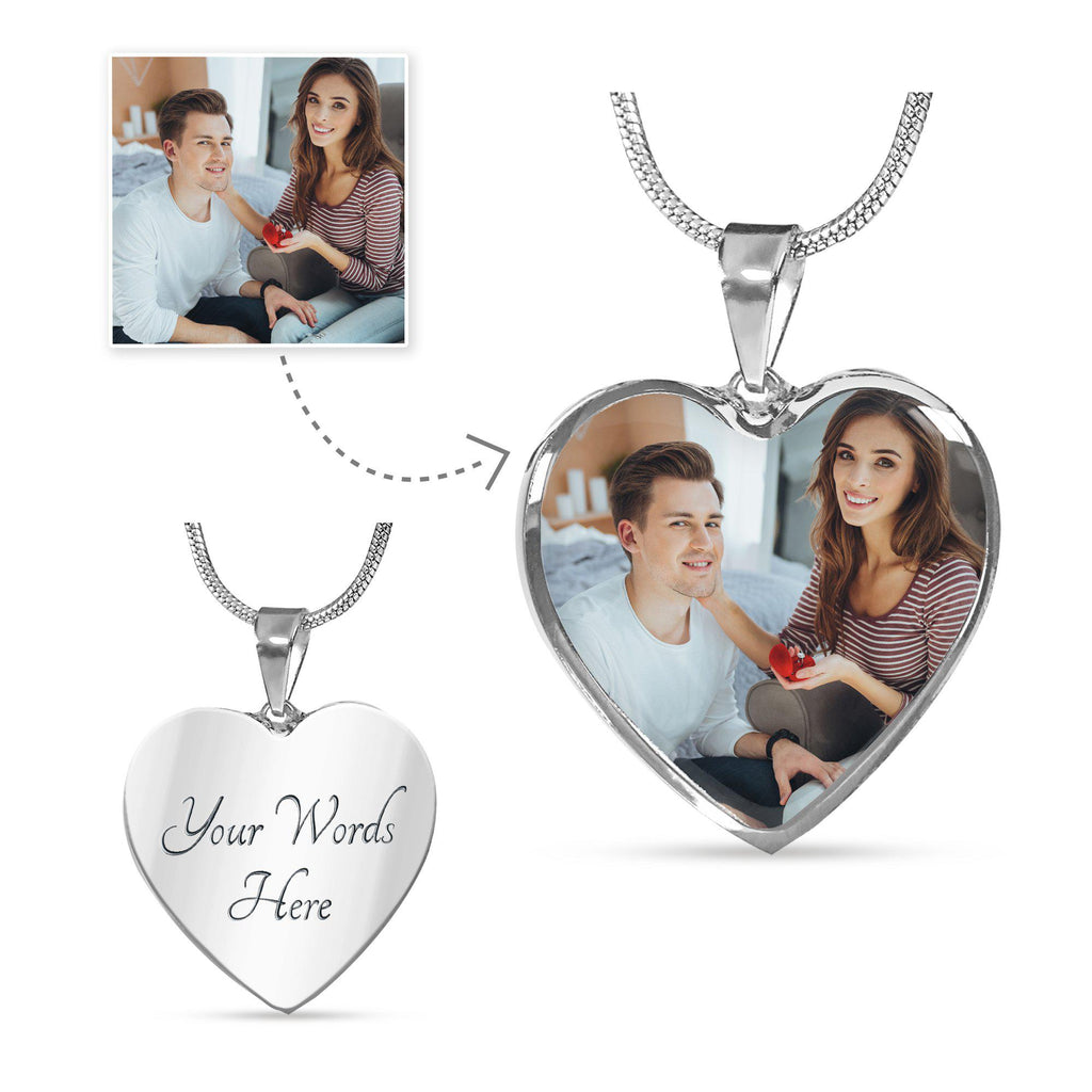 Put Your Engagement Moments Close To Your Heart - Personalised Photo Upload (Heart Pendant)