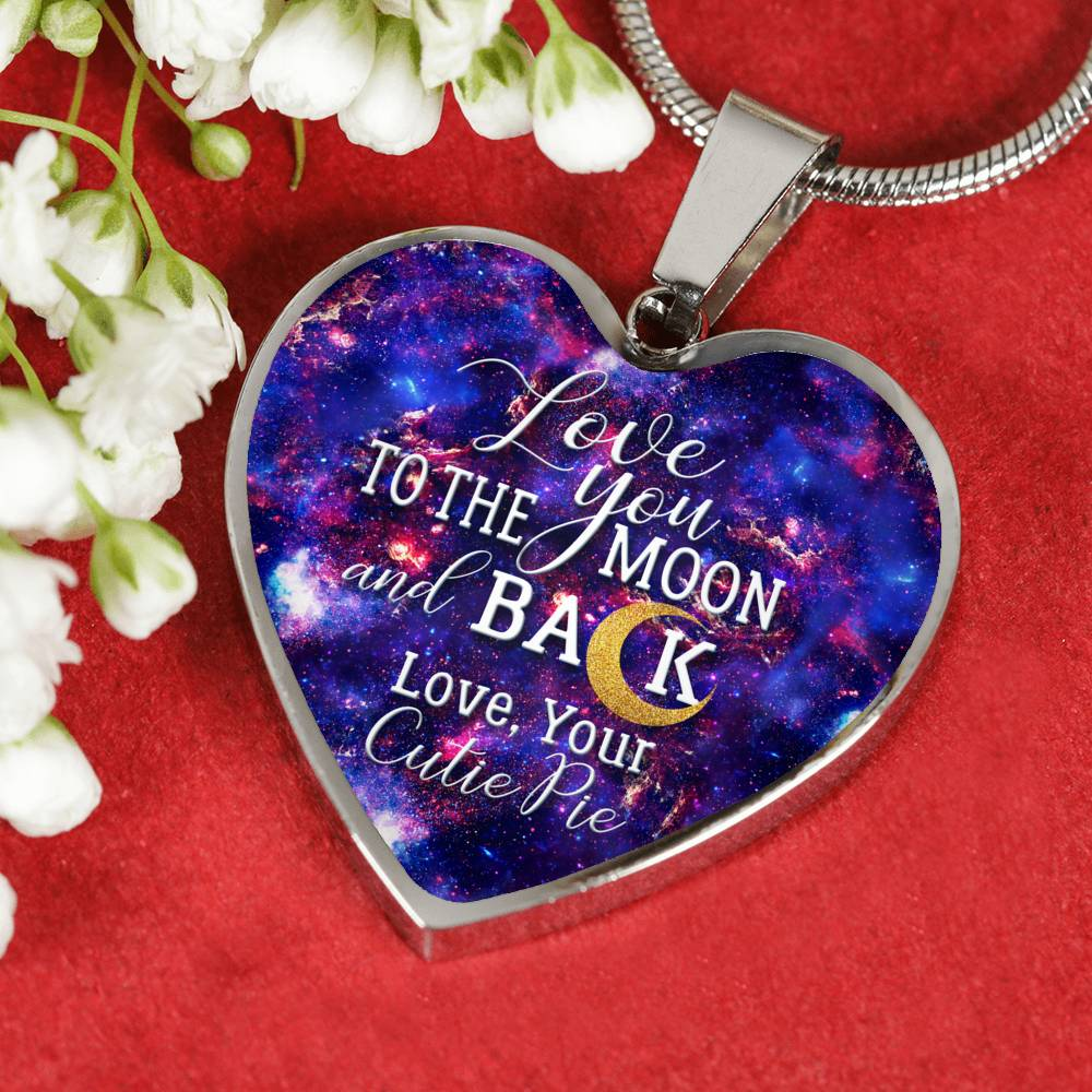 Love You To The Moon and Back (Surgical Steel Heart Necklace)