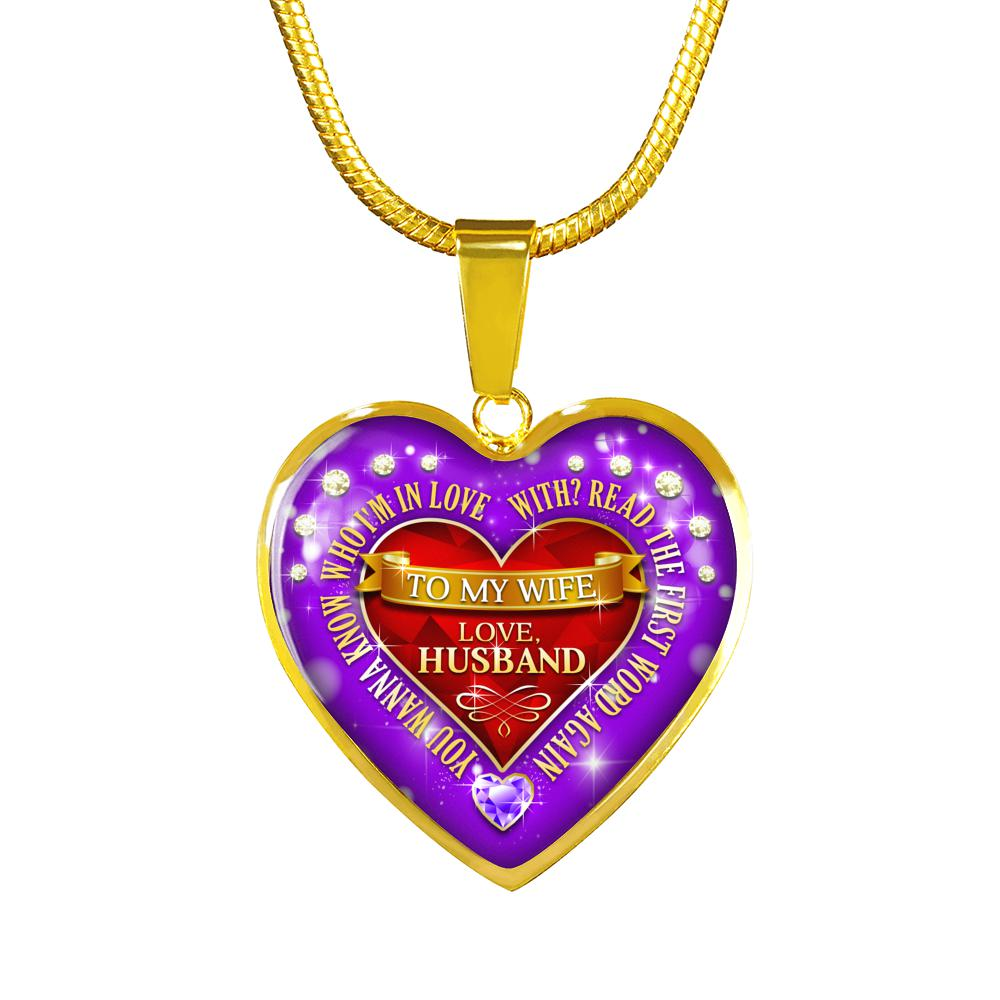Awesome & Unique To My Wife - Read The First Word Necklace with Adjustable Chain - Heart (18K Gold)