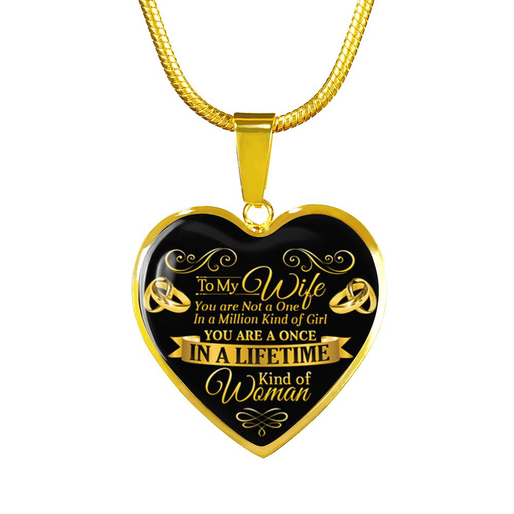 Awesome & Unique To My Wife Necklace with Adjustable Chain - Heart (Gold)