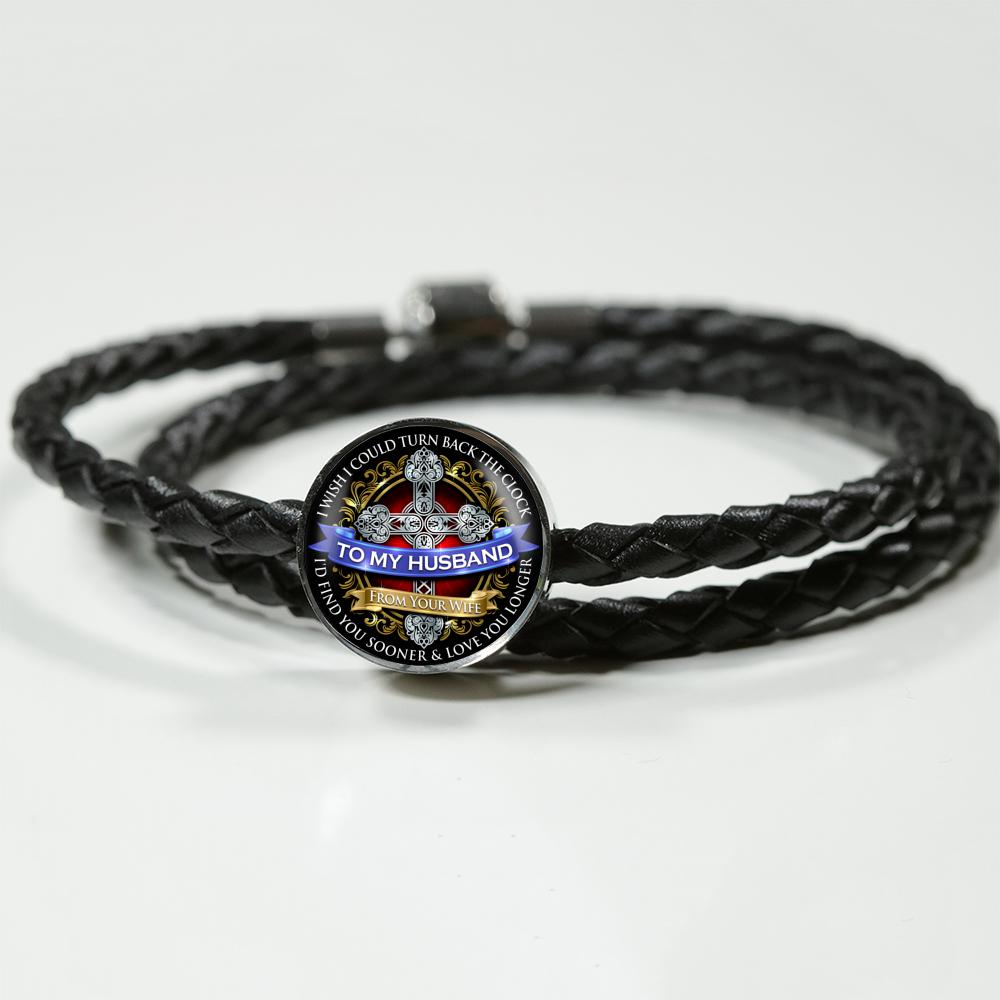 Awesome & Unique To My Husband Bracelet (Real Leather) with Charm