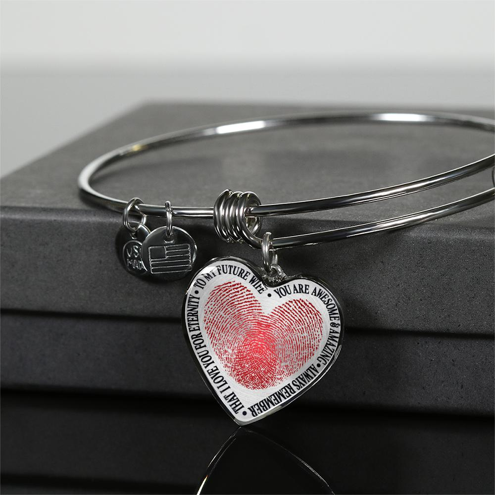 To My Future Wife - You Are Awesome & Amazing - Always Remember That - I Love You For Eternity (Silver Bangle)