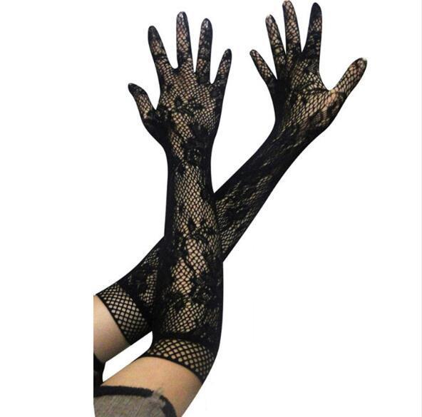 Sexy Transparent Lace Elastic Mesh Bride Long-Sleeve Gloves-ZhenDuo Sex Shop
