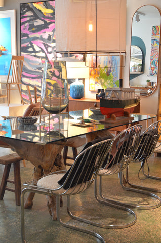 Sculpture Wood and Glass Dining table