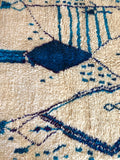 Moroccan Boujad Rug - Blues & Cream