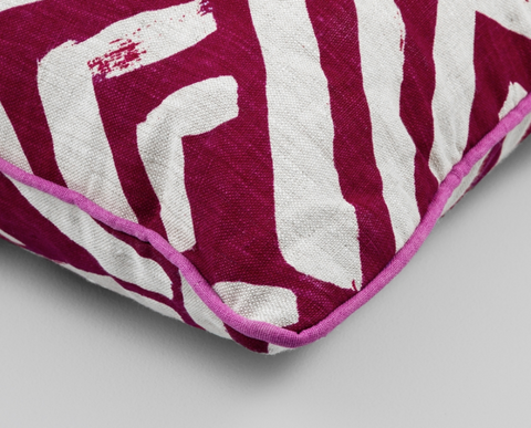 Fuchsia Pink and white print cushion