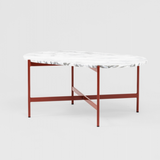 Marble and Red Steel Coffee Table