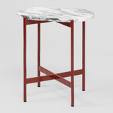 Marble and Red Steel Side Table