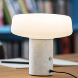 Terence Woodgate Solid Table Light, Small - Carrara Marble
