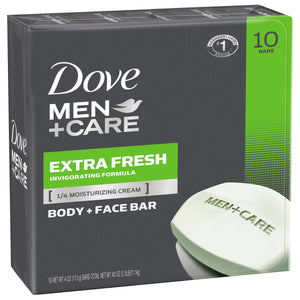 Dove Men+Care Extra Fresh Body and Face Bar 4 oz, 10 Bars - iMarket.Site