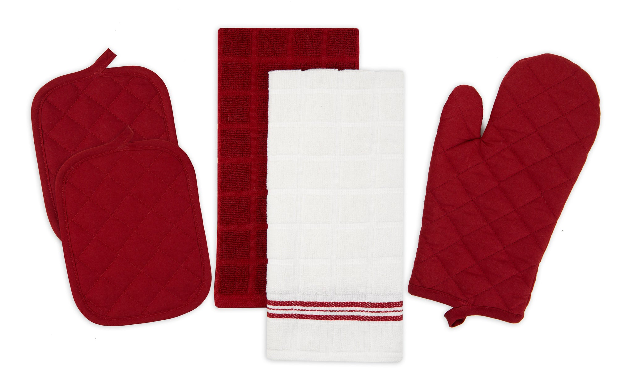 Mainstays Kitchen Towel, Oven Mitt and Pot Holder Kitchen Set 5 Pack Red - iMarket.Site