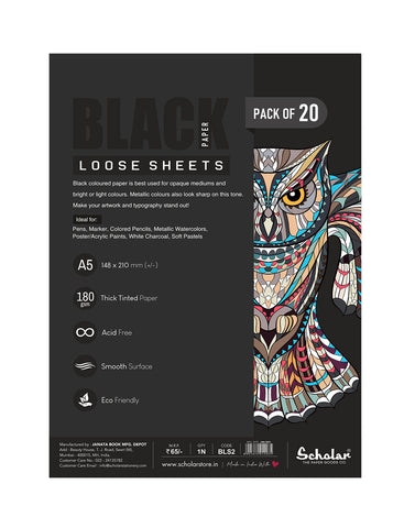 A5 BLACK PAPER LOOSE SHEETS - 170 GSM (BLS2) (Set of 4)